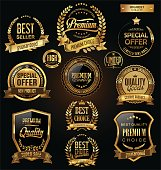 Luxury badges and labels with laurel wreath golden collection