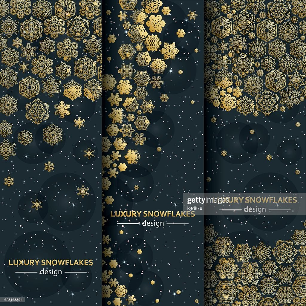 Luxury banners with golden snowflakes. Vector illustration.