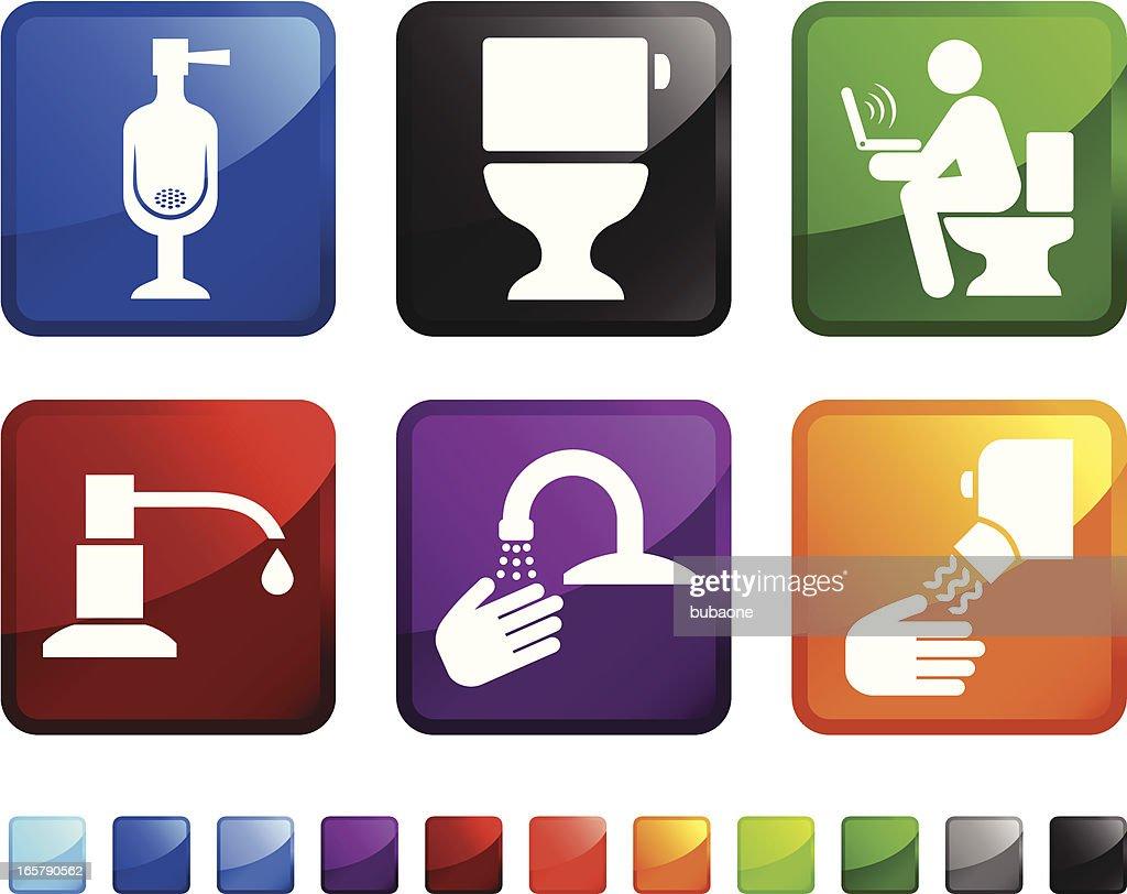 Luxury Bathroom royalty free vector icon set stickers