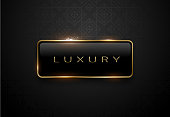 Luxury black label with golden frame sparks on black background. Dark premium logo template. Vector illustration.