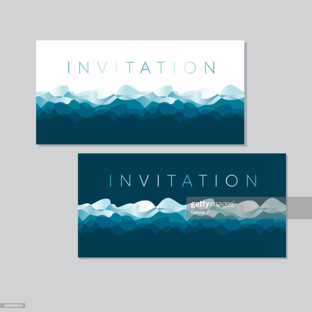 Luxury blue amd sea water waves pattern. Ocean motif for header, card, invitation, poster, cover and other web and print design projects.