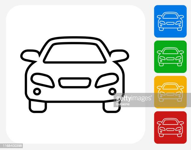 luxury car front view icon - front view stock illustrations