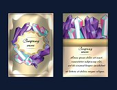 Luxury cards design with beautiful minerals, gemstones, crystals. Flyer concept for healing master, magic salon, fashion industry, jewelry shop.