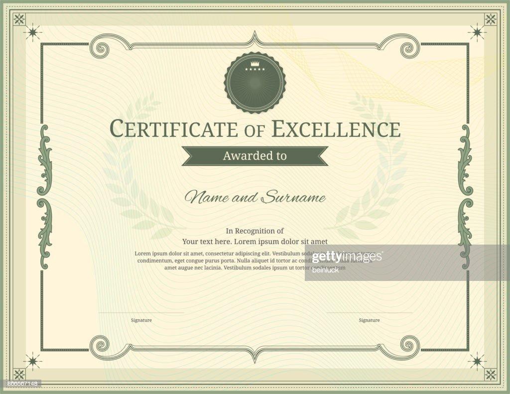 Luxuszertifikatvorlage Mit Eleganten Rahmen Diplom Design Abschluss