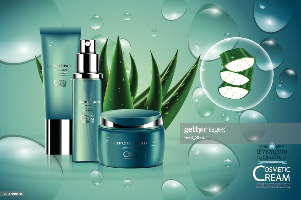 Luxury cosmetic Bottle package skin care cream, aloe vera moisturizer facial gel, Beauty cosmetic product poster, with bokeh and water drop background