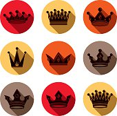 Luxury crowns collection isolated. 3d imperial accessory