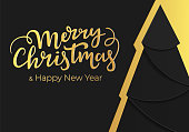 Luxury festive Christmas card design in fashionable noir style with modern black and gold colors. New Year postcard with golden foil background and best wishes lettering text.