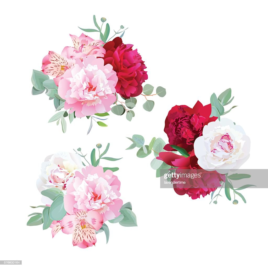 Luxury floral bouquets of peony, alstroemeria lily, mint eucaliptus