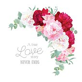 Luxury floral vector frame with peony, alstroemeria lily