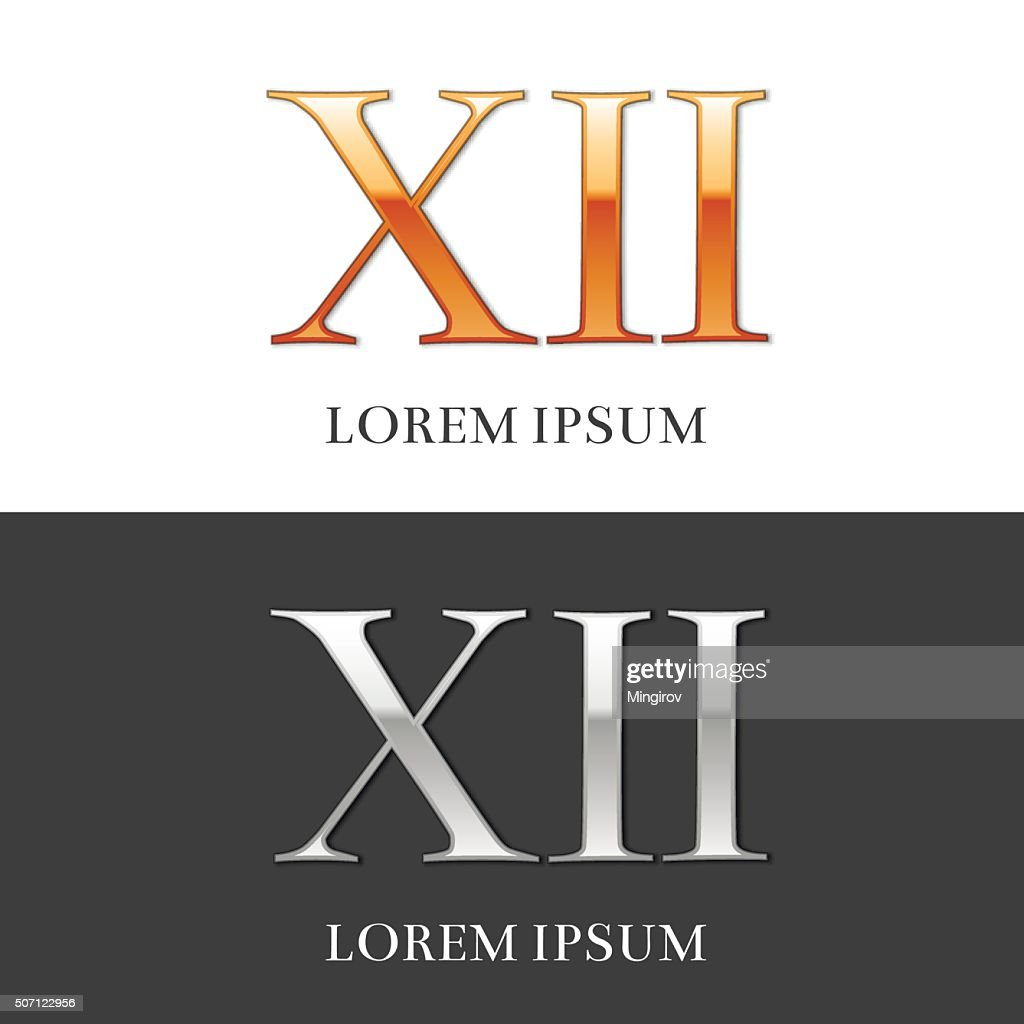 12, XII, Luxury Gold and Silver Roman numerals, sign, symb