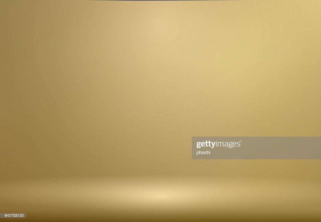 Luxury Gold Studio room background with Spotlights well use as Business backdrop, Template mock up for display of product, Vector