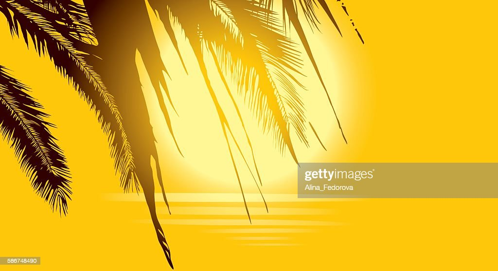 Luxury golden background with palm trees, sun and sea