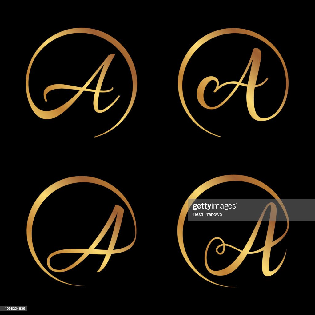 Luxury golden letter A shaped round for your business symbol