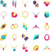 Luxury jewelry flat vector icons