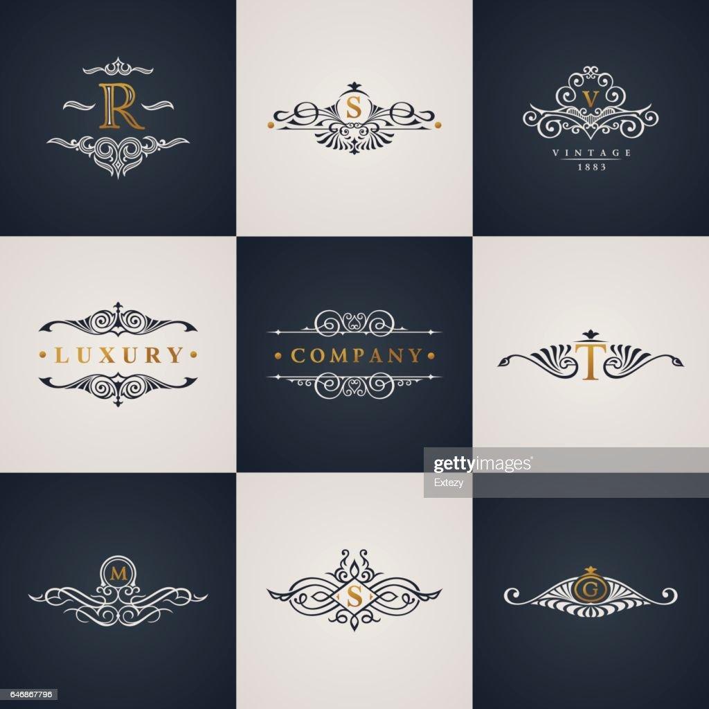 Luxury logo monogram set. Vintage royal flourishes elements. Calligraphic symbol ornament
