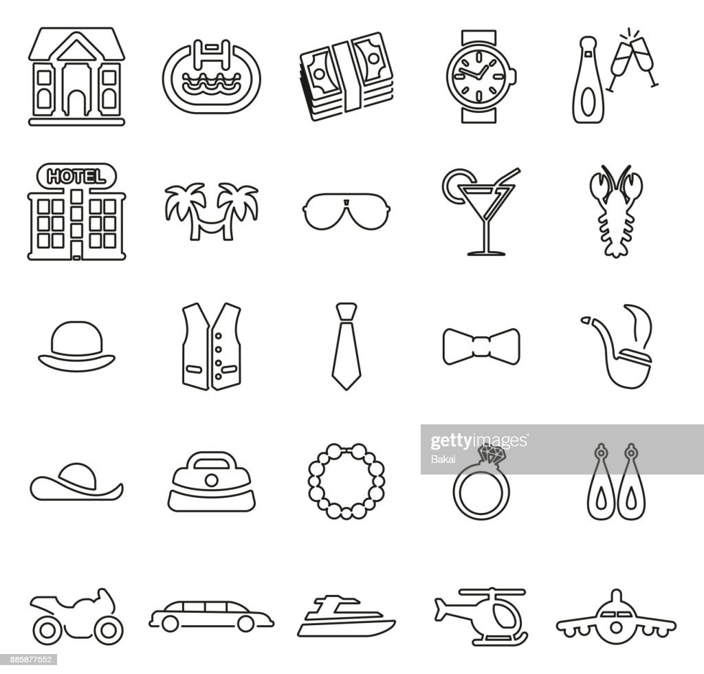 Luxury or Welth or Status Symbol Icons Thin Line Vector Illustration Set