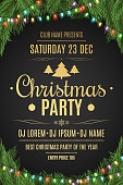 Luxury poster for a Christmas party. Christmas tree on a black background. Celebratory background. Gold text with description. Multicolored luminous garland. Vector illustration