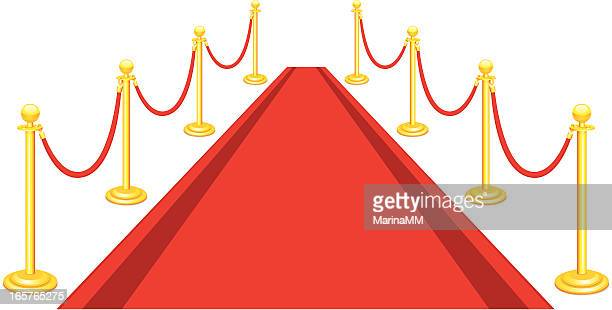 luxury red carpet - roped off stock illustrations