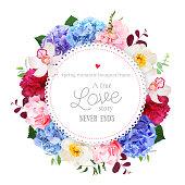 Luxury round floral vector design frame