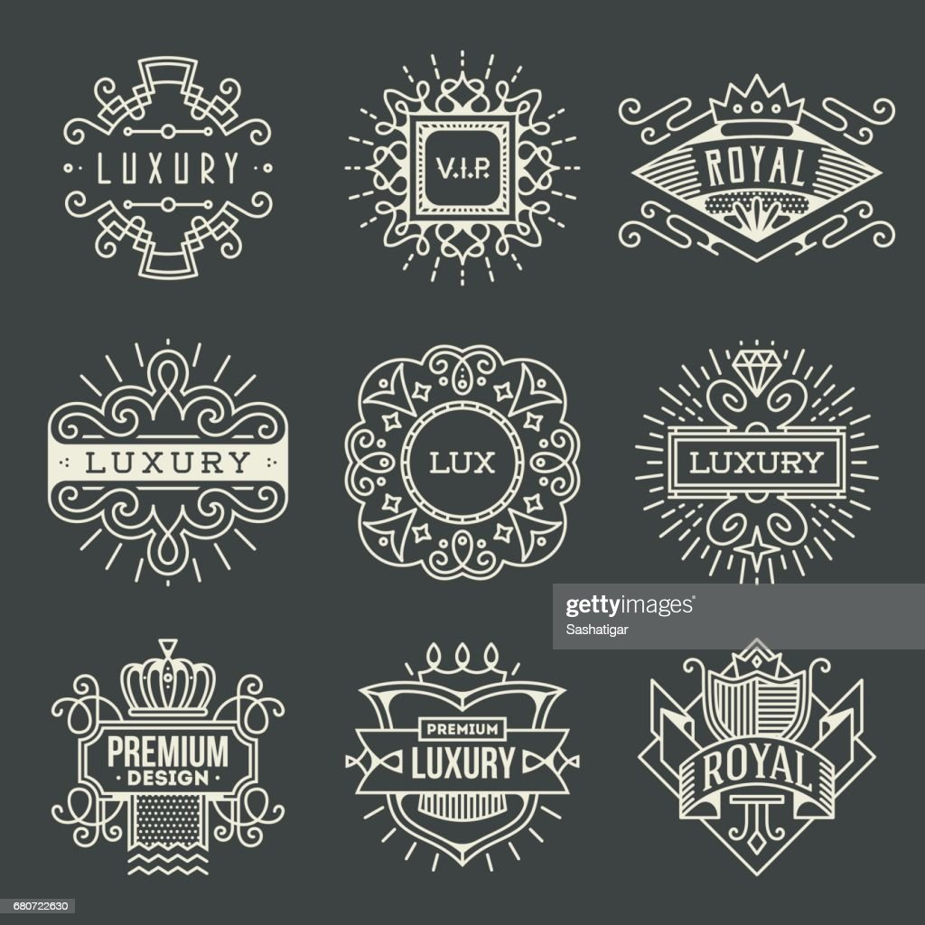 Luxury Royal Insignias Retro Design Color symboltypes Template Dark Set 1. Line Art Vector Vintage Style Elements. Elegant Geometric Shiny Frames.