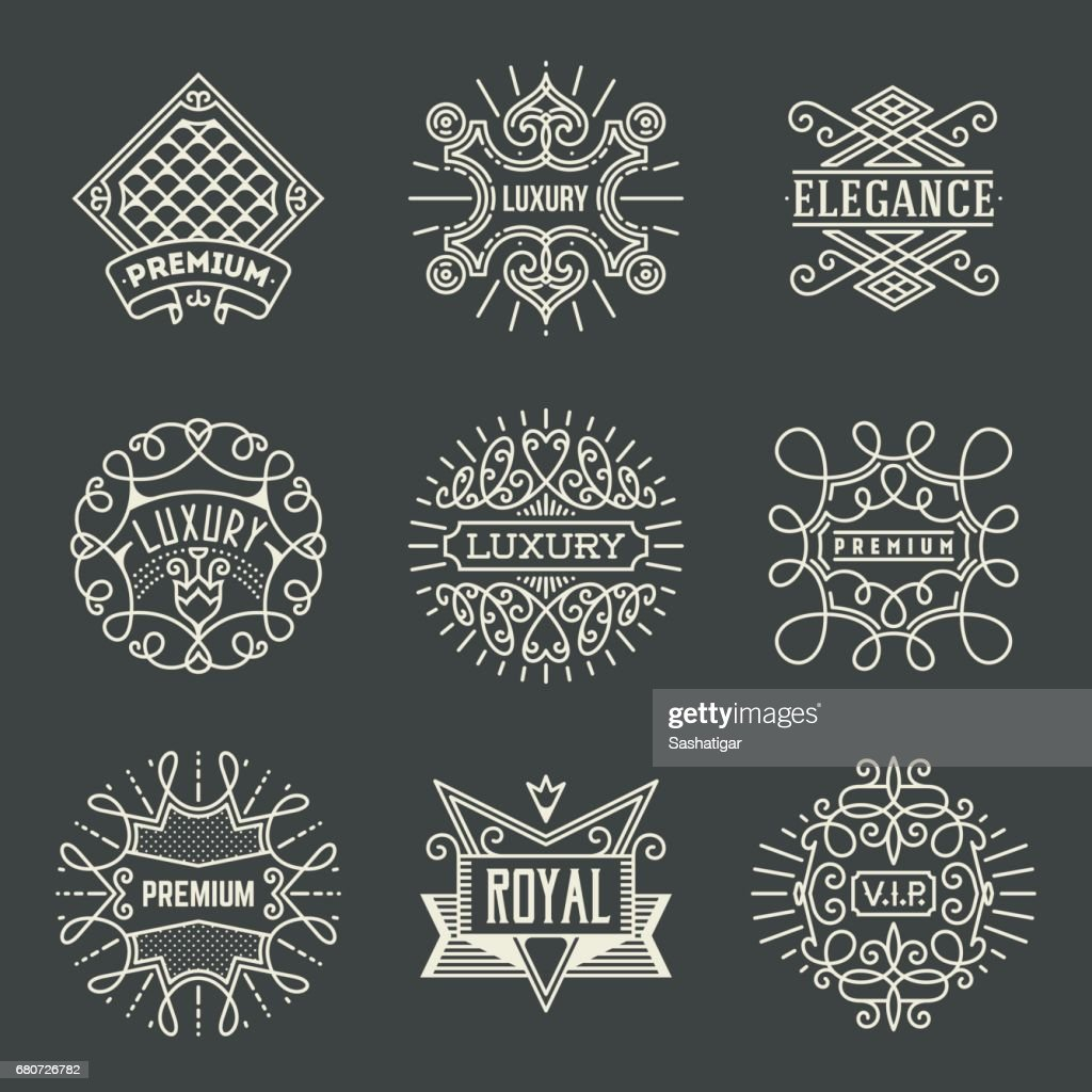 Luxury Royal Insignias Retro Design Color symboltypes Template Dark Set 2. Line Art Vector Vintage Style Elements. Elegant Geometric Shiny Frames.