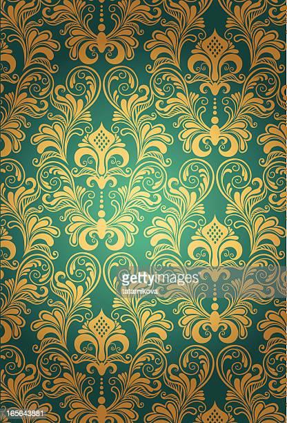 luxury silk floral pattern - brocade stock illustrations