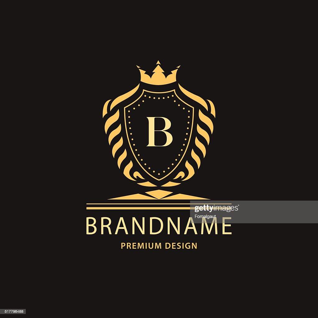 Luxury Vintage Business sign, label, Letter emblem B