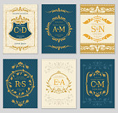 Luxury vintage wedding invitation vector cards with icon monograms and ornate frame