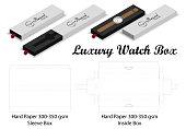 luxury watch sleeve box mockup dieline template