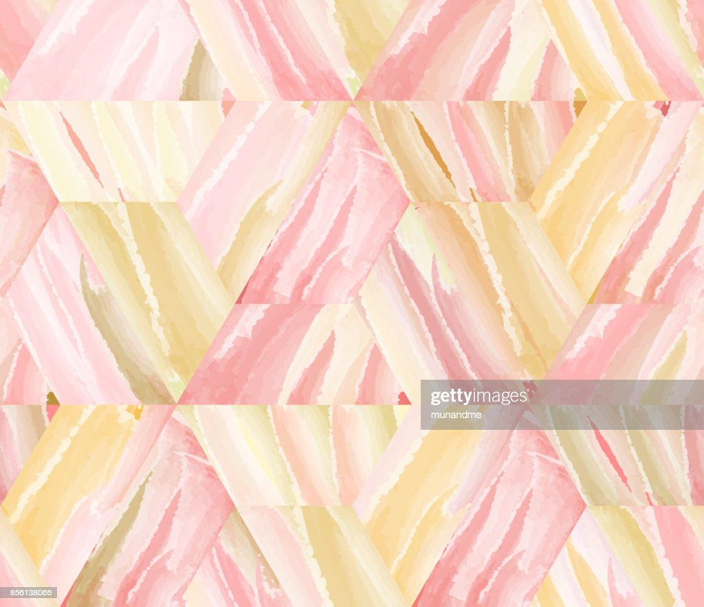 Luxury watercolor geometry hexagonal and triangle abstract seamless pattern in rose gold theme