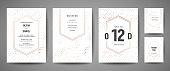 Luxury Wedding Save the Date, Invitation Cards Collection with Gold Foil Polka Dots and Monogram Logo vector design template