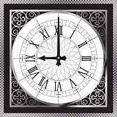 Luxury white gold metal clock with Roman numerals and pattern