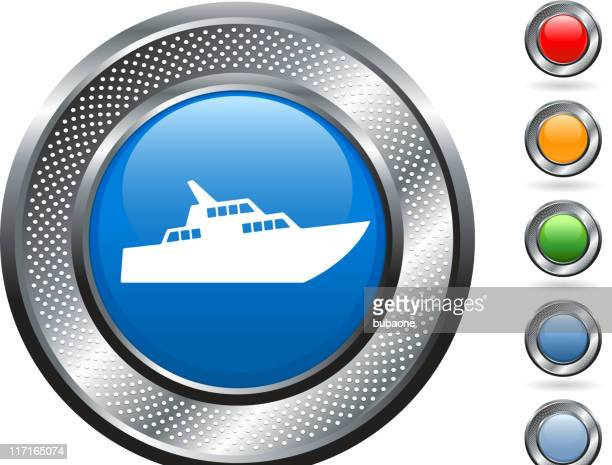 luxury yacht royalty free vector art on metallic button