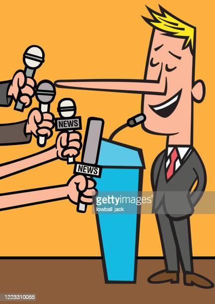 ilustrações, clipart, desenhos animados e ícones de um político mentiroso ou porta-voz fazendo um discurso na frente da mídia - fake news