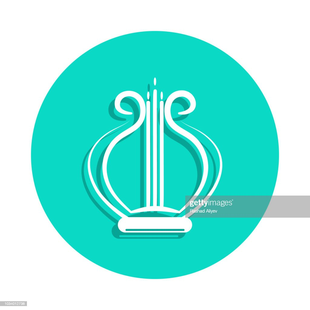 lyre icon in badge style. One of Music Instruments collection icon can be used for UI, UX
