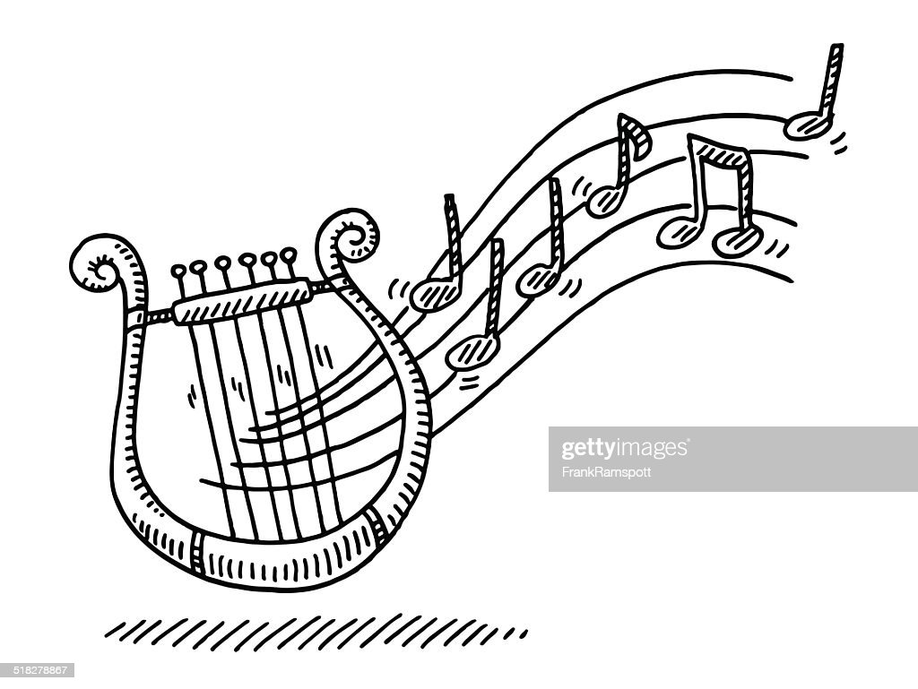 Lyre Music Instrument Notes Drawing