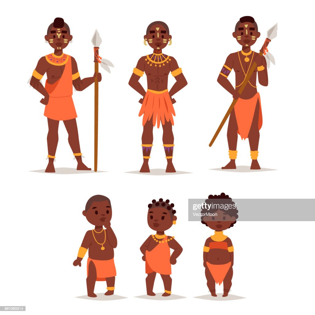 Maasai african people in traditional clothing happy person families vector illustration