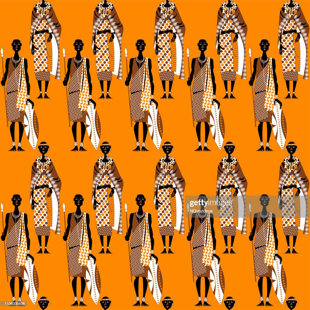Maasai couple (warrior and girl) in traditional clothing. Africa, Kenya. Seamless background pattern.