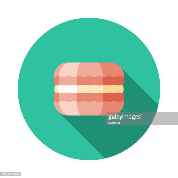 macaron flat design france icon - macaroon stock illustrations, clip art, cartoons, & icons