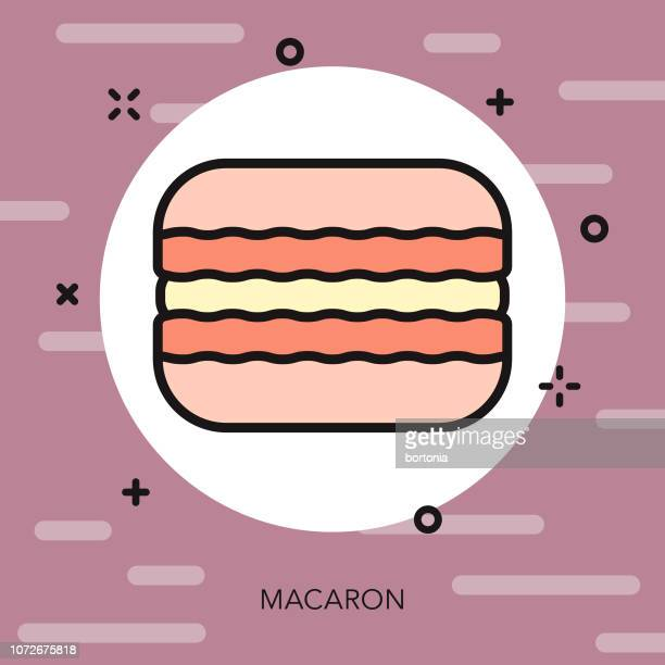 macaron thin line france icon - macaroon stock illustrations, clip art, cartoons, & icons