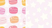 macarons and stars; seamless pattern
