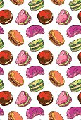 Macaroon. Vector seamless pattern (background). Bright colored drawing.