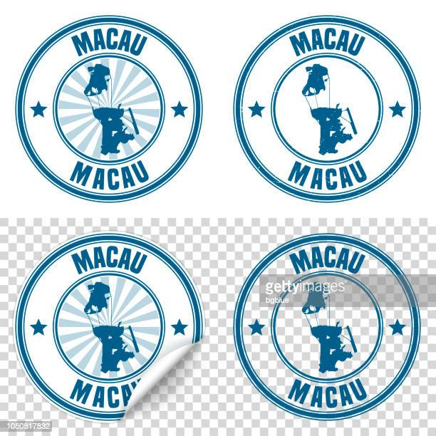macau - blue sticker and stamp with name and map - macao stock illustrations