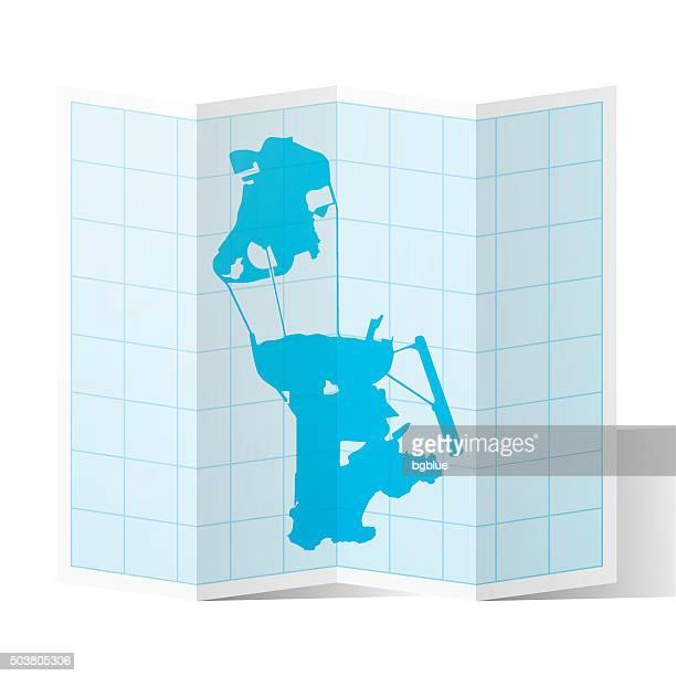 Macau Map folded, isolated on white Background