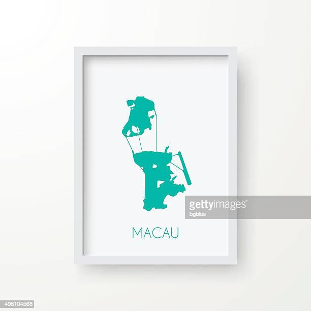macau map in frame on white background - macao stock illustrations