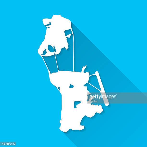 macau map on blue background, long shadow, flat design - macao stock illustrations
