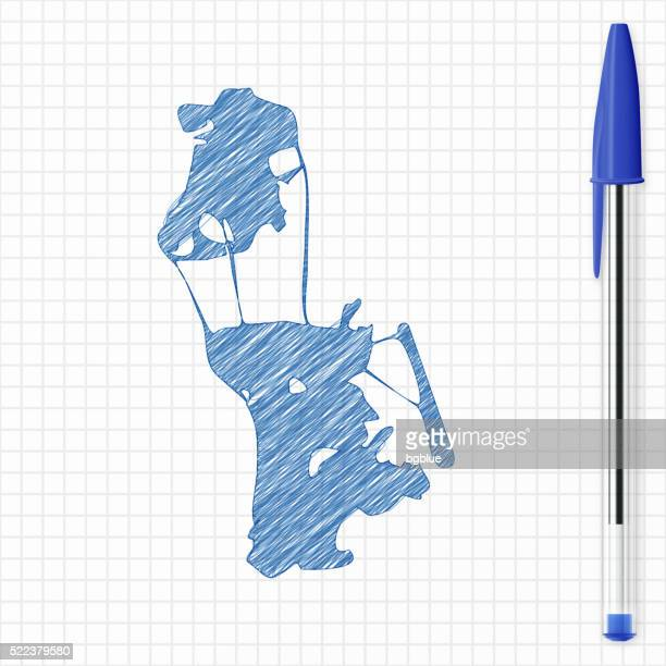 Macau map sketch on grid paper, blue pen