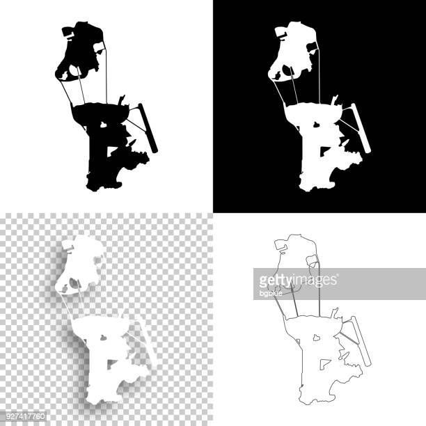 macau maps for design - blank, white and black backgrounds - macao stock illustrations