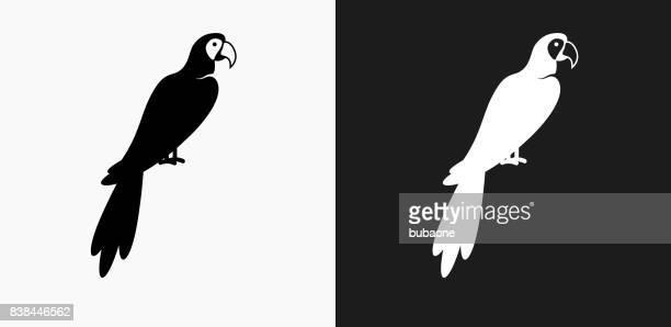 Ara oiseaux icône sur fond de Vector noir et blanc