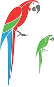 Macaw parrot and green parrot